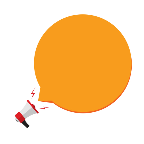 Megaphone with orange speech bubble template
